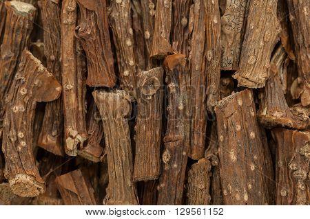 Organic Guduchi or Tinospora cordifolia Vine. Macro close up background texture. Top view.