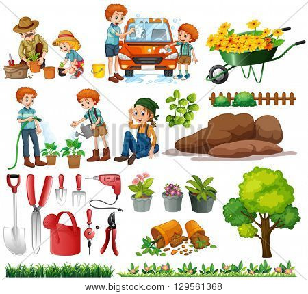 Family members doing chores and gardening illustration