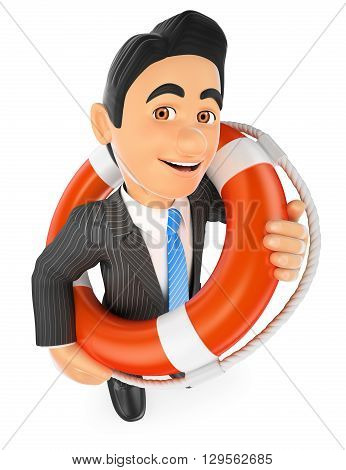 3d business people illustration. Businessman with a lifesaver. Bailout. Financial rescue. Isolated white background.