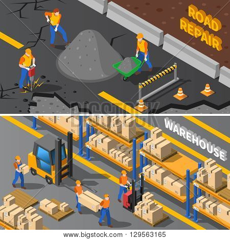 Workers Isometric Concept. Road Workers Horizontal Banners. Construction Workers Vector Illustration. Warehouse Workers Set. Workers Design Symbols.Workers Elements Collection. Worker People Compositions.