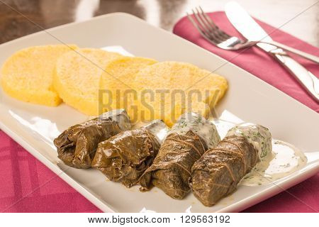 Grape Leaf Rolls On A Traditional Background