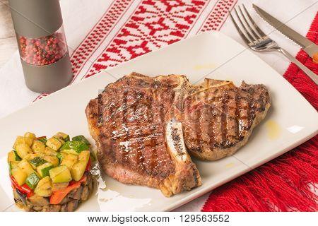 T Bone Steak With Vegetables