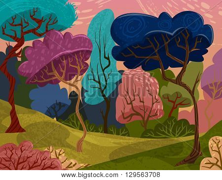 Beautiful trees in magical forest. Cartoon colorful summer landscape. Vector illustration