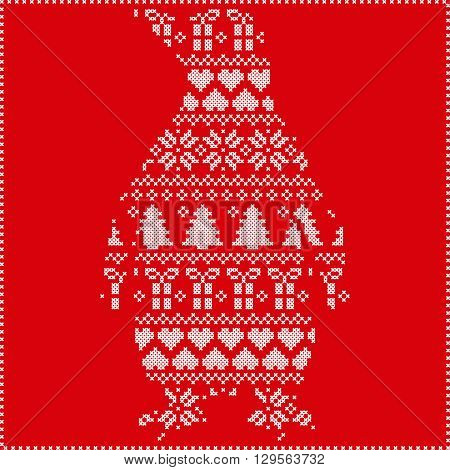Scandinavian Nordic winter stitching  knitting  christmas pattern with penguin shape including snowflakes, hearts, trees christmas presents, snow, stars, decorative ornaments on red background poster