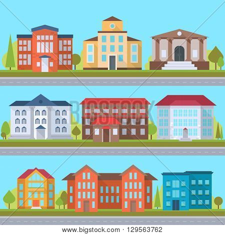 Set of streets with office or administrative buildings outdoor cartoon architecture set vector illustration