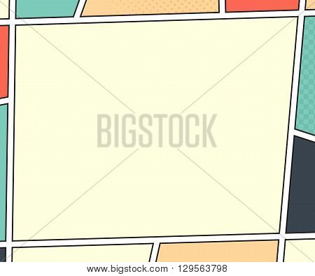 Vector mock-up of a typical comic book page. Pop art style. Colorful vector illustration. Bright cartoon comic