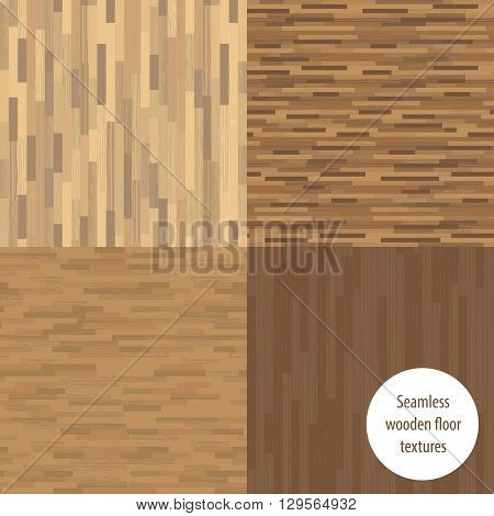 Set of seamless wooden parquet patterns vector illustration