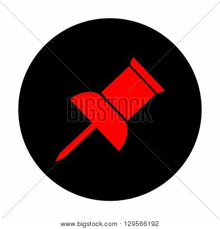 Pin push sign. Red vector icon on black flat circle.