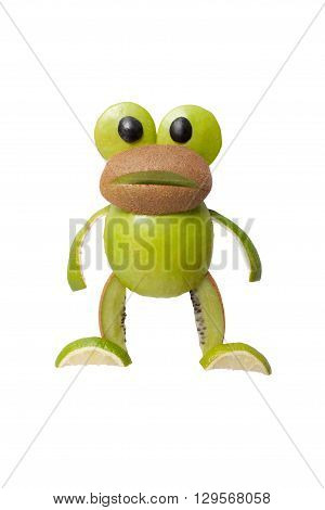 Surprised frog made of apple and kiwi on isolated background