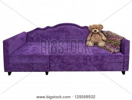 Purple sofa with a bear and a plaid