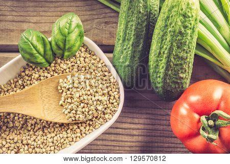 Buckwheat In White Bowl