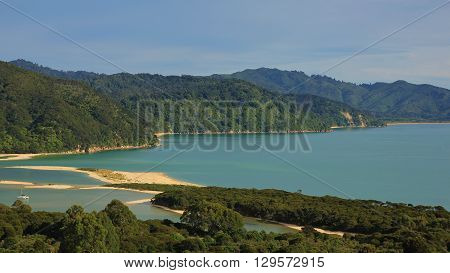 Beautiful landscape in the Abel Tasman National Park New Zealand. Awaroa Bay.