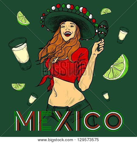 Tequila party. Vintage engraving illustration for label poster invitation to a party. Hand drawn design element on dark green background. Vector illustration