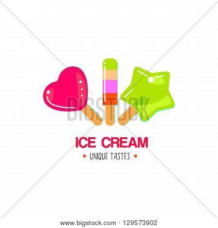 Fruit ice cream logo design. Ice cream cafe logotype concept icon. Vector emblem.
