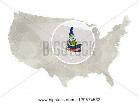 Polygonal Abstract Usa Map With Magnified Idaho State.