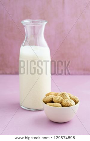 Fresh homemade peanut milk in a bottle with fresh peanuts