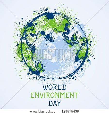 World environment day. Earth globe with splashes in watercolor style art.. Concept design for banner, greeting card, t-shirt, print, poster. Vector illustration