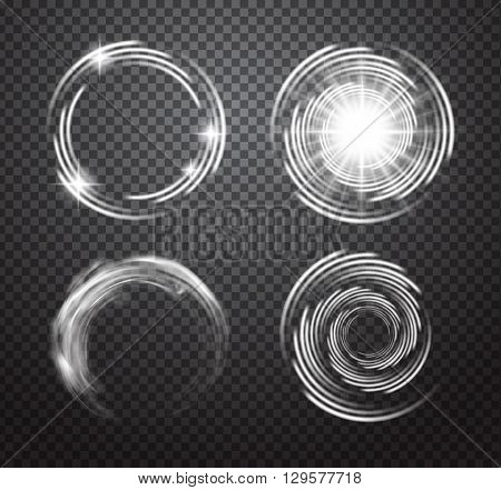 Isolated glowing light effects set with transparent background. Lightning special effects collection. Magic glowing star light, smoke swirl, flare and explosion with transparency. Vector illustration