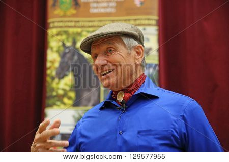 10 MAY. Portrait of the american horse specialist Monty Roberts aka 'The horse whisperer'. 81 years old Monty Roberts portrayed at an instructor event in Mezohegyes Hungary on 10 May 2016.