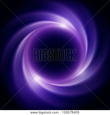 Abstract background with black hole or collapsar in outer space. Beautiful eclipse in a distant galaxy. Dark background with vortex at the center. Violet colored cosmic vector background.