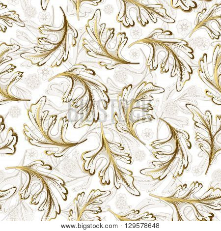 Delicate ornate hand drawing white gold fantasy leaves seamless pattern. Floral elements. Decoration elements for design invitation wedding valentines day greeting cards