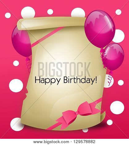 Greeting card with pink background and decoration for the happy birthday