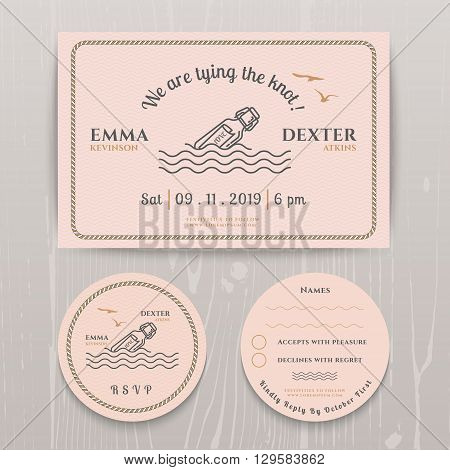 Nautical message in the bottle wedding invitation and RSVP card template set on wood background