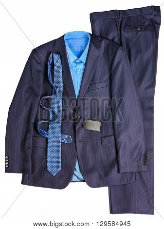 masculine, classic suit blue stripes on a white background. Tie, shirt.