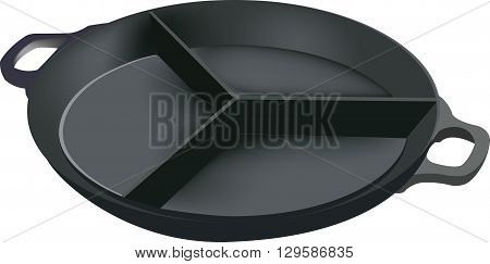 pot with three compartments to separate the food and cooking