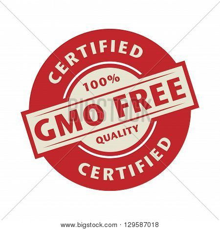Stamp or label with the text GMO Free Certified, vector illustration