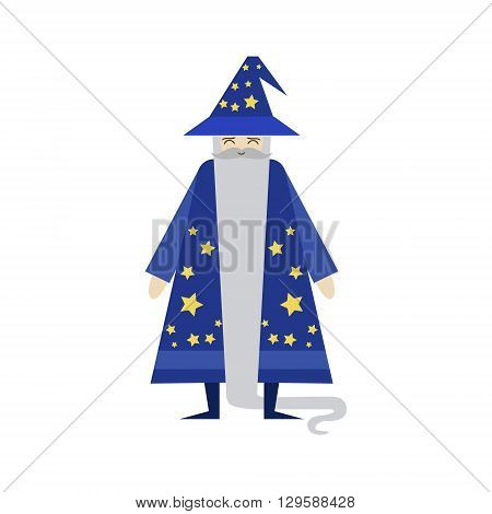 Fairytale Wizard Flat Isolated Childish Style Simple Vector Drawing In Bright Colors On White Background
