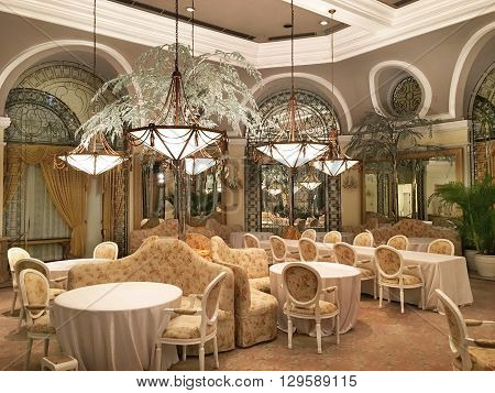 MANILA PHILIPPINES - APRIL 2 2016: Manila Hotel Champagne Room. the room best embodies the Grand Dame's tradition and devotion to fine dining.