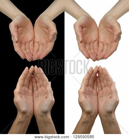 Giving is as simple as Black and White - 2 different positioned female cupped hands each on black and white backgrounds