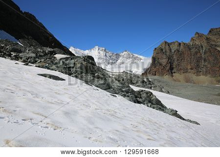 Fee Glacier in the Swiss Alps. Europe