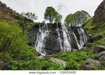 Beautiful Shaki Waterfall on mountain in Armenia