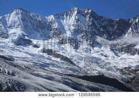 The Fee Glacier in Saas-Fee. Swiss Alps