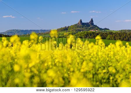 Spring landscape with trees fields and Trosky Castle. Czech Republic