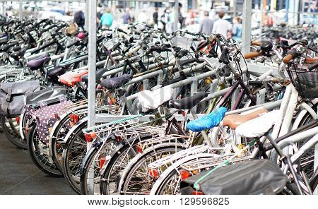 Many Bicycles parked at Ostende railway station