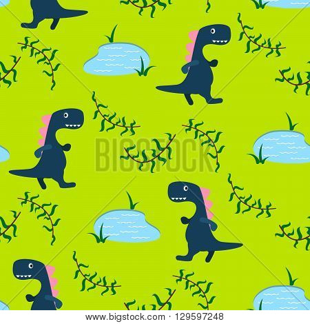 Dino kid seamless vector pattern for textile print. Green and blue happy cartoon dino reptile with lake on green. Baby fabric pattern.