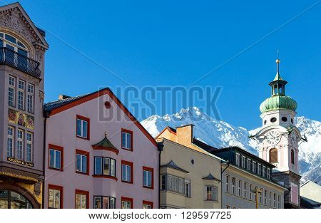 Innsbruck Austria - February 8 2010: The traditional architecture of Maria Theresien strasse