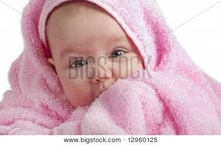 Cute Baby With Pink Towel
