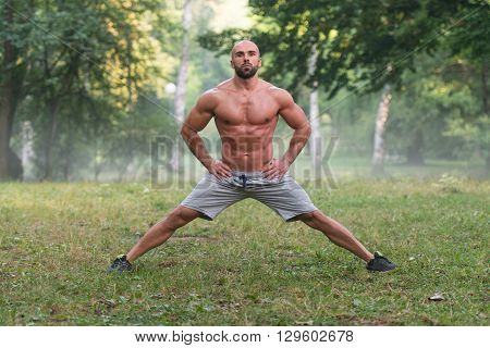 Stretching Exercise Outdoors Workout In Nature