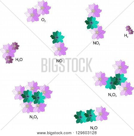 Interesting chemistry. Molecules from hand drawn flowers. Inorganic chemistry. Vector illustration.