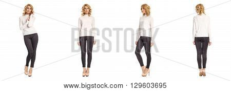 Full Length Portrait Of Beautiful Woman In  Leggins Isolated
