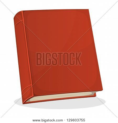Illustration of a cartoon standing red covered book with blank cover isolated on white background for bookstore or library blog showcase