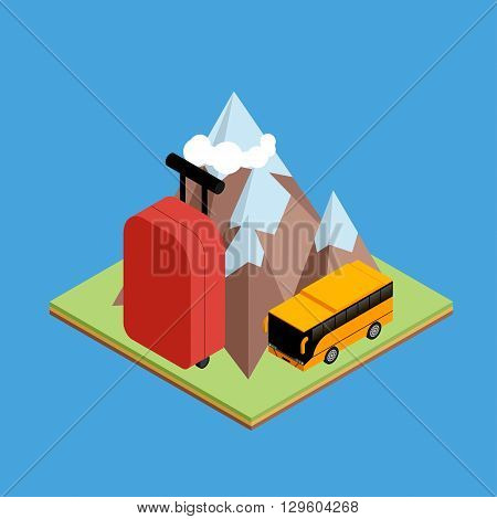 Travel isometric composition. Travel and tourism background. Flat 3d Vector illustration. Travel banner design. Travel  flyer design. World travel banner background. World travel concept.