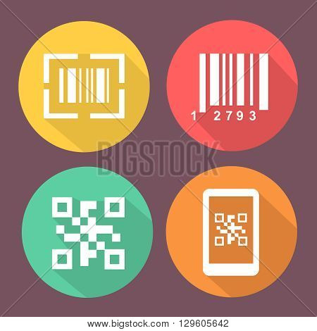 Bar and Qr code icons.  Smartphone symbols with Scan barcode. Circle flat colored buttons with icon.