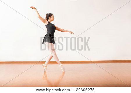Ballet Dancer Walking On Her Toes
