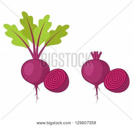 Flat icon beet with leaves and half of beet and beet without leaves and with half of beet. Vector illustration.