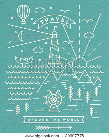 Travel flat line art illustration